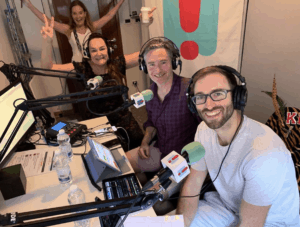 Sacha French, Executive Producer, Kate, Dave and Jack Lawrence anchor of the show using ViA