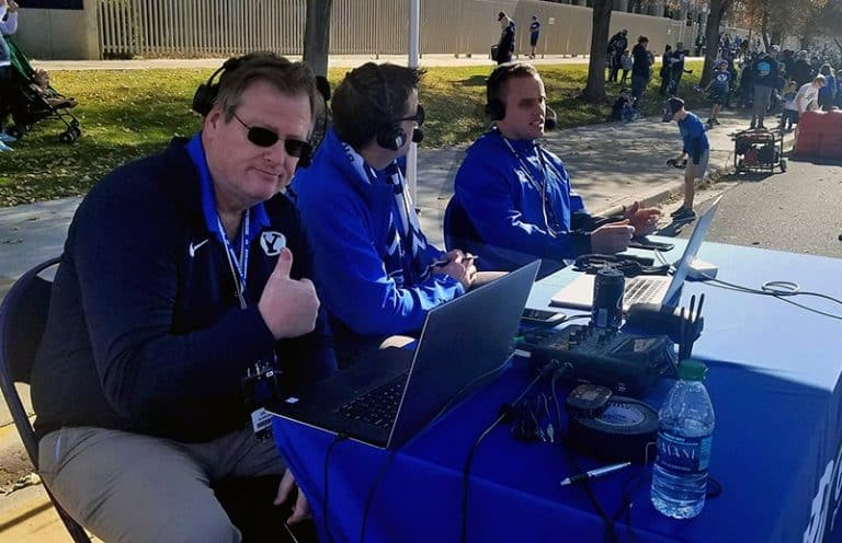 Play-by-play announcer Greg Wrubell, pregame and postgame show host Ben Bagley and color analyst Riley Nelson team up with the Tieline ViA.