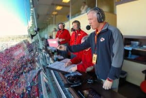 Dan Israel (far right) with the commentary team calling a game