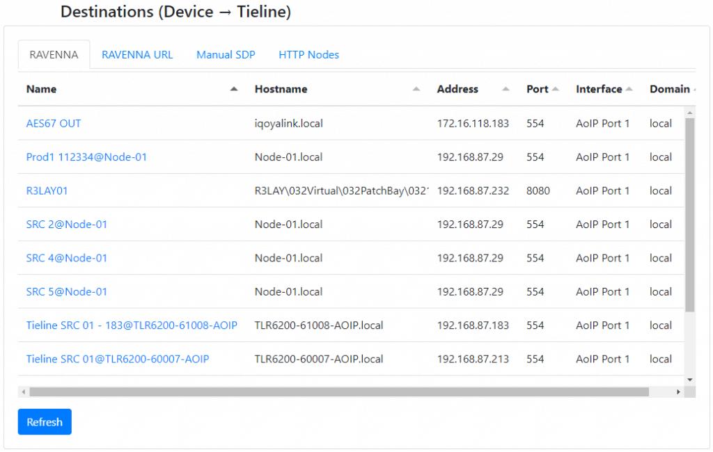 RAVENNA Destinations displaying stream options